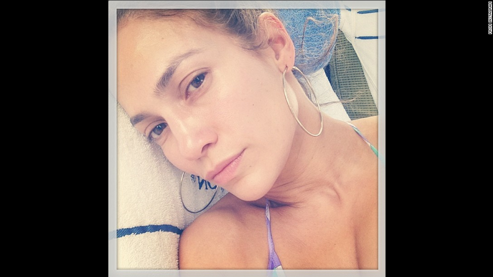 "Actress and singer Jennifer Lopez posted a no-makeup selfie to <a href=""http://instagram.com/p/pRrhhUmuFx/"" target=""_blank"">her Instagram account</a> Sunday, June 15. ""No makeup day! #realface #trueselfie #iwokeuplike this,"" she wrote."