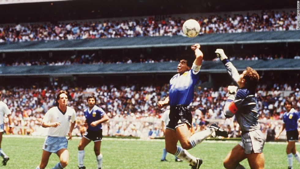 Maradona's quick thinking -- and quick hand -- handed Argentina a World Cup quarterfinal victory against England in Mexico City during the 1986 tournament.