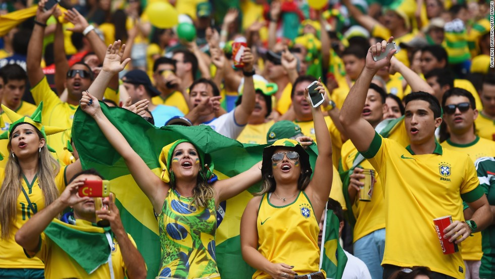 Brazil fans cheer prior to the match.