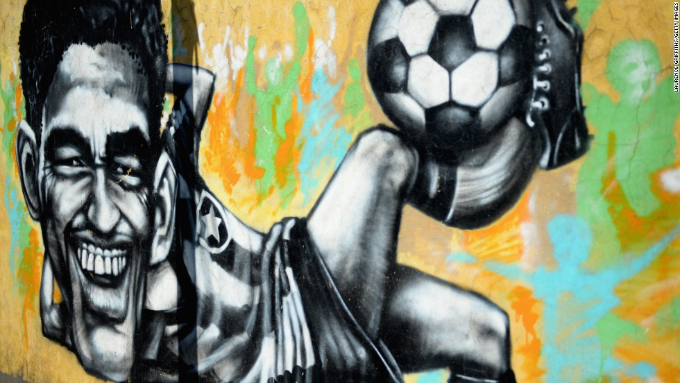 "Ito agrees wholeheartedly with this sentiment. <br /><br />""I think people at the same time don't agree 100% with the cup (but they) also like to watch some games,"" he said.<br />This Rio artwork pays tribute to former Brazilian World Cup winner Garrincha who was famed for his bendy legs and mesmerizing dribbling skills."