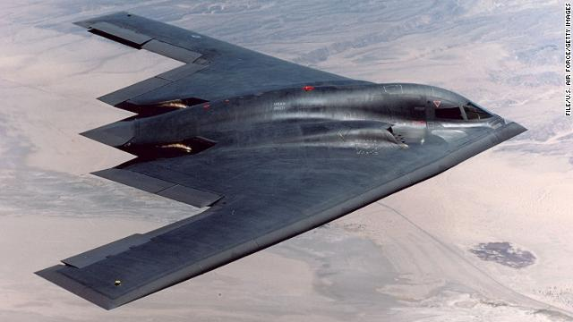 [File photo] In this handout photo provided by the U.S. Air Force, the B-2 flies over Edwards Air Force Base August 14, 2003 over California. The B-2 Global Power Bomber Combined Test Force dropped two newly upgraded 5,000-pound GBU-28 bombs for the first time.