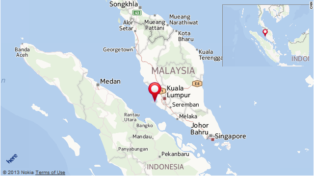 The vessel capsized after leaving Carey Island in Malaysia's Selangor state (pinpointed on map). The destination was Aceh in Indonesia, seen to the left of the map.