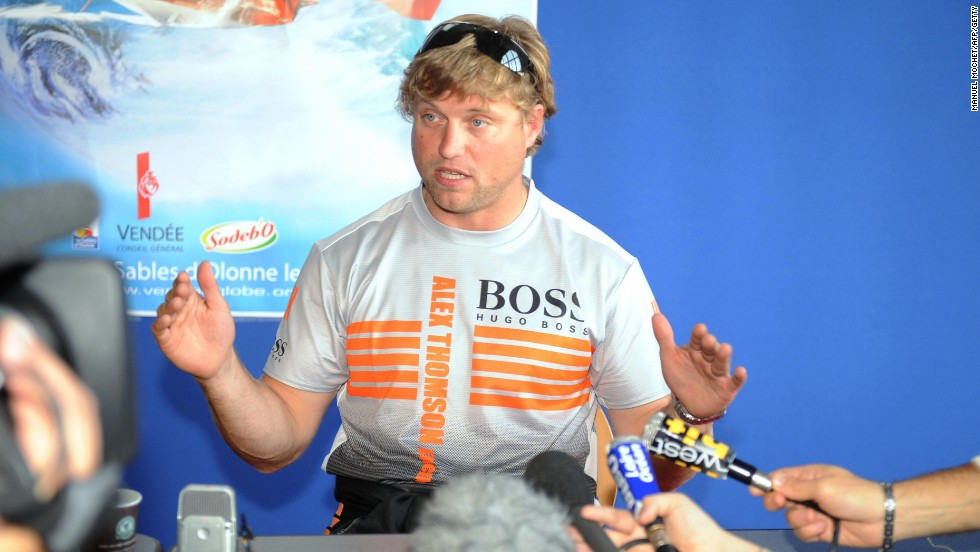 Thomson's 2008 Vendee bid was wrecked after a collision with a fishing boat, which he here describes to the media.