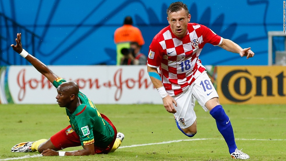 Ivica Olic of Croatia celebrates after scoring his team's first goal.