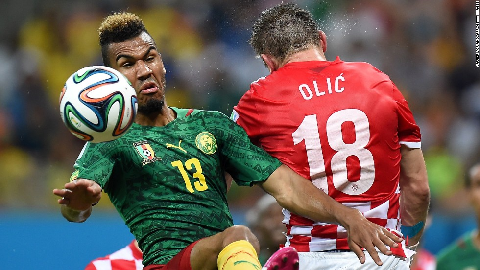 Cameroon's Eric Maxim Choupo-Moting challenges Croatia's Ivica Olic.