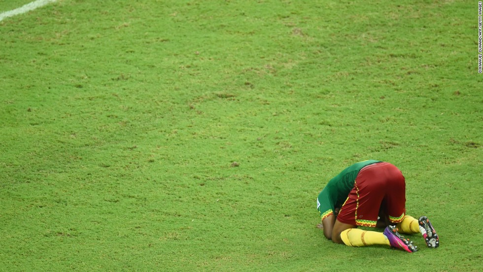 Cameroon's Benjamin Moukandjo reacts during the game.