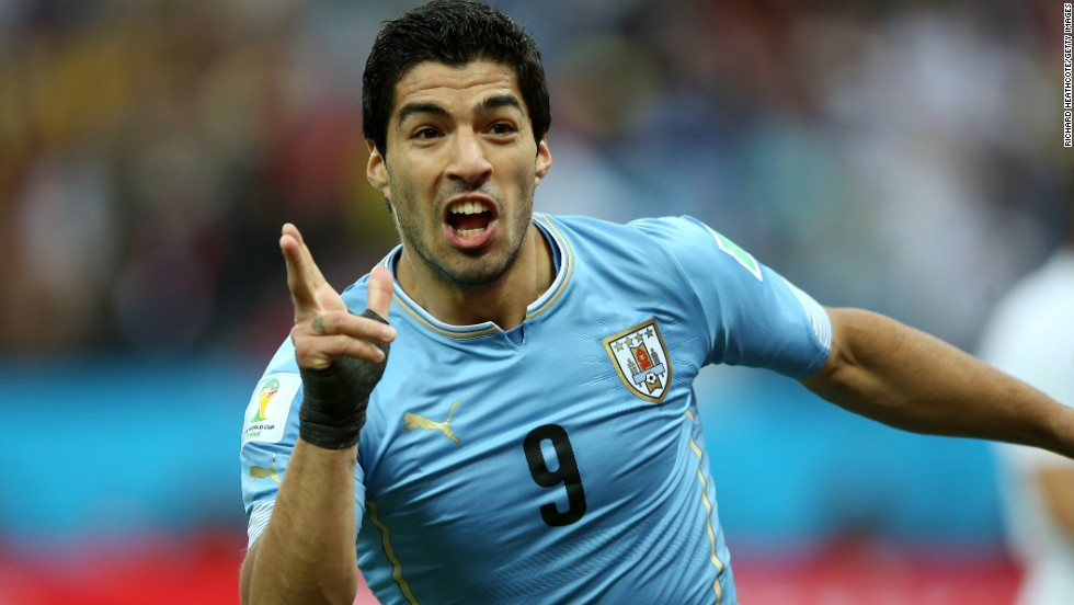 Suarez was banned for nine international matches. He returns to international action against Brazil on Friday. Here, Suarez celebrates after scoring his team's first goal during the Group D victory over England in Sao Paulo, Brazil at the 2014 World Cup.