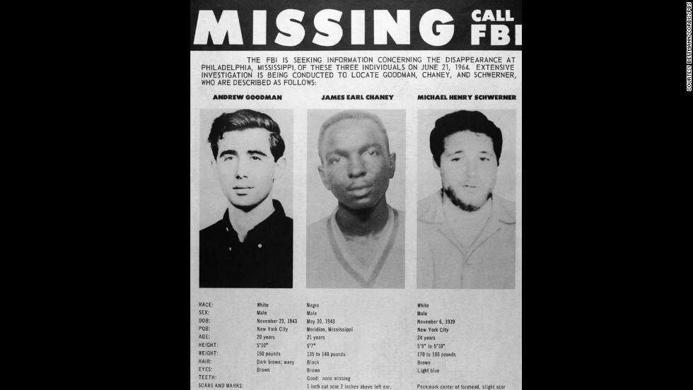 A missing persons poster displays the photographs of civil rights workers Andrew Goodman, James Earl Chaney and Michael Henry Schwerner after they disappeared in Mississippi. It was later discovered that they were murdered by the Ku Klux Klan.