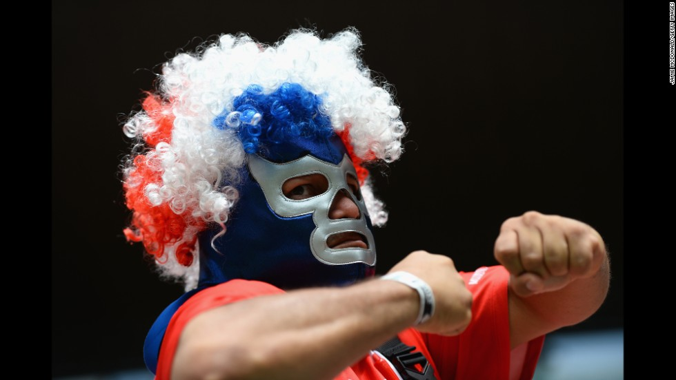 A Costa Rica fan poses during the match.