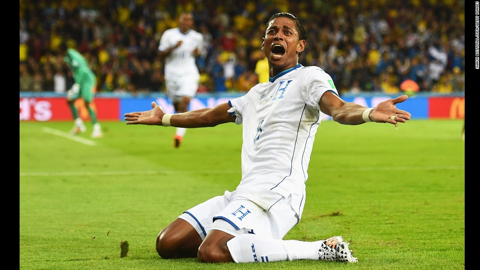 Carlo Costly of Honduras celebrates scoring his team's first goal, tying the score 1-1.