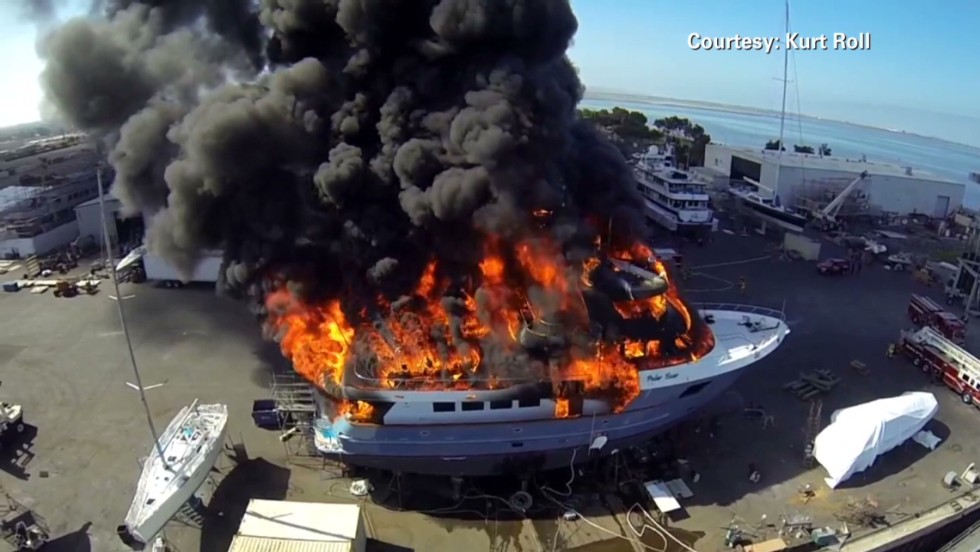 $17 million yacht goes up in flames - CNN Video