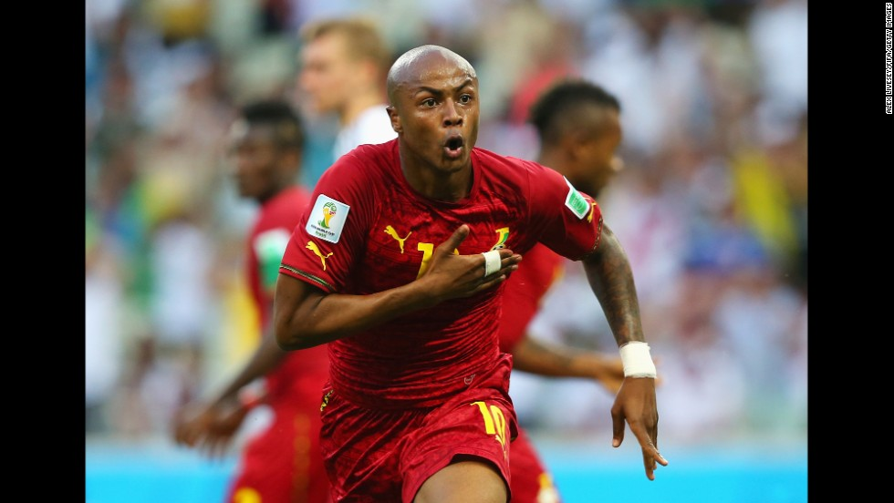 Andre Ayew of Ghana celebrates scoring his team's first goal against Germany.