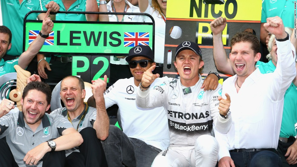 Nico Rosberg celebrates with his Mercedes team after victory in Formula One's Austrian Grand Prix at Red Bull Ring in Spielberg.