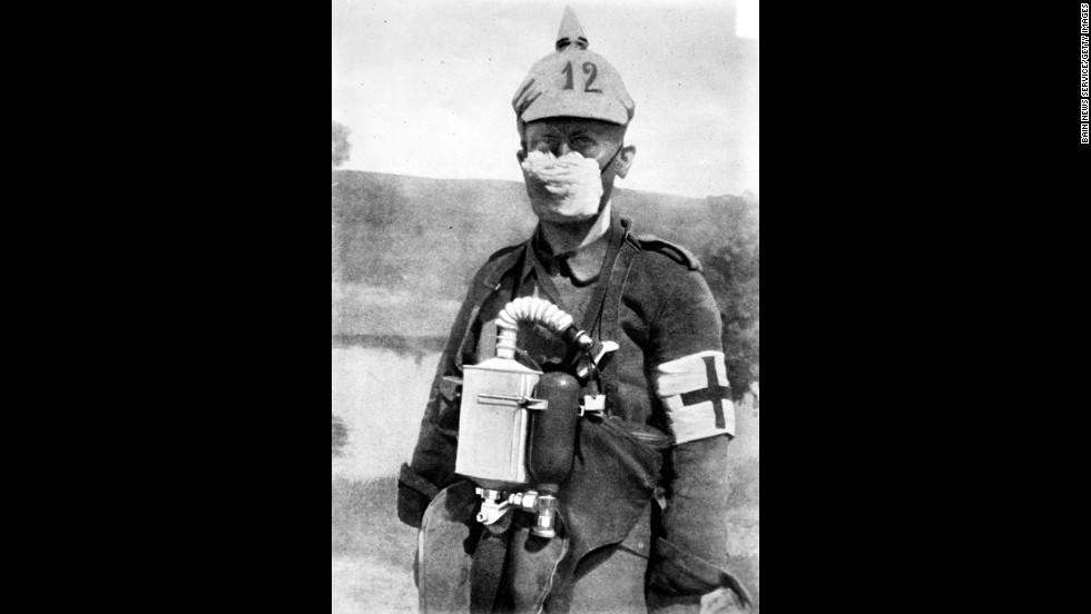 A German soldier wears a more rudimentary gas mask in 1915. Although the Germans were first to deploy chemical weapons in the war, both sides were soon routinely using chlorine and other gases in battle.