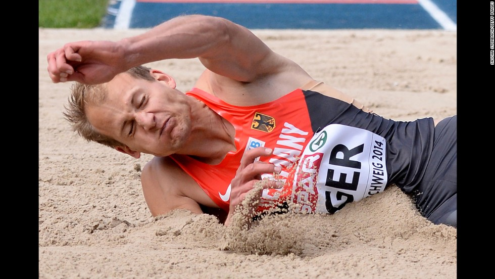 Christian Reif of Germany competes in the men's long jump on the first day of the European Athletics Team Championship in Braunschweig, Germany, on Saturday, June 21.