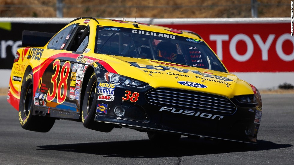 David Gilliland races in the qualifying round of the NASCAR Sprint Cup Series in Sonoma, California, on Saturday, June 21.