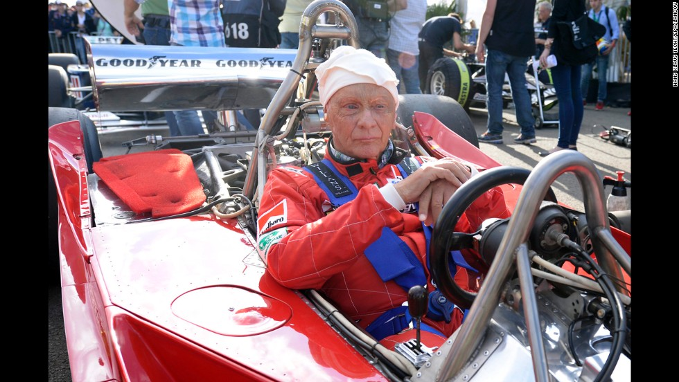 Three-time world champion Niki Lauda of Austria sits in his car before a legends race on Saturday, June 21, in Spielberg, Austria, ahead of the Austrian Formula One Grand Prix.