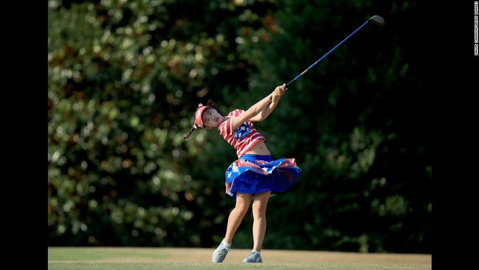 Lucy Li of the United States, who is only 11, tees off from the 16th hole during the first round of the 69th U.S. Women's Open in Pinehurst, North Carolina, on Thursday, June 19.