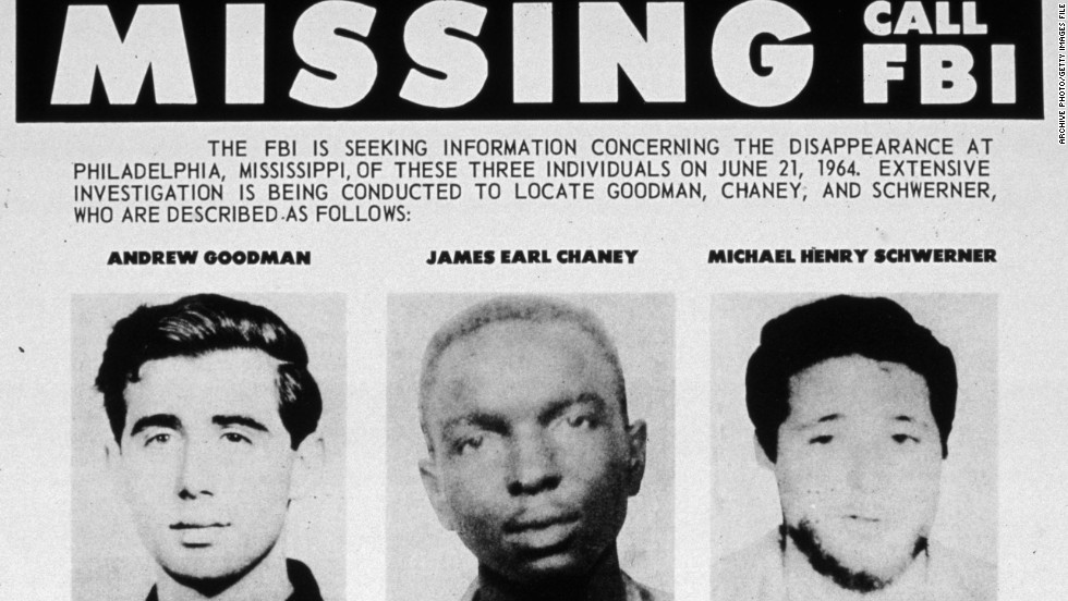 An FBI flyer for missing civil rights students Andrew Goodman James Chaney and Michael Schwerner