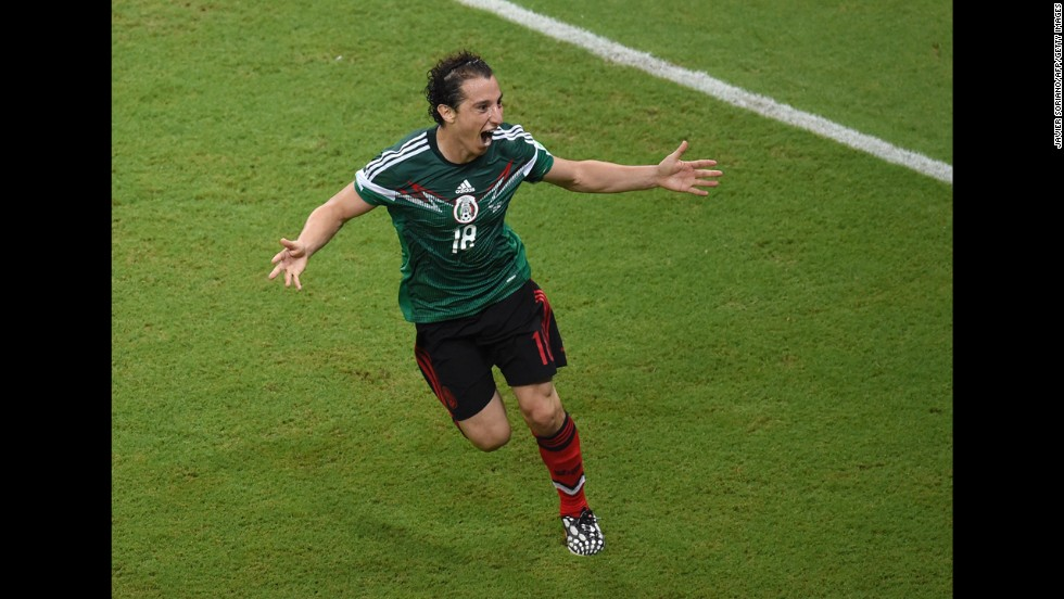 Defender Andres Guardado of Mexico celebrates scoring his team's second goal.