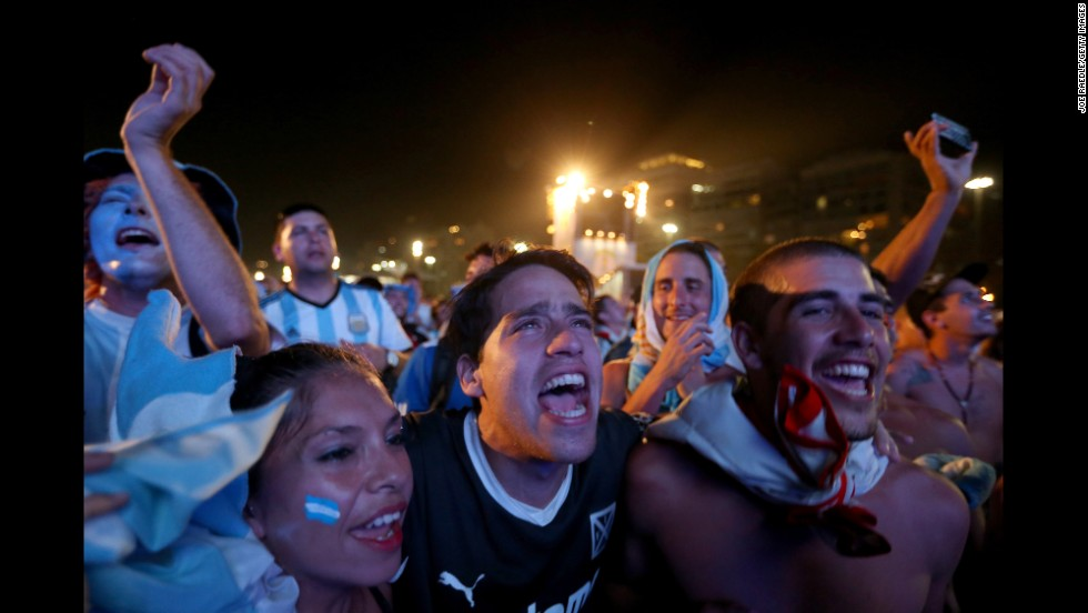 Argentina fans react to their team's first goal against Bosnia-Herzegovina on Sunday, June 15. Argentina would go on to win 2-1.