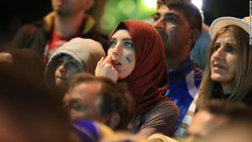 Fans of Bosnia-Herzegovina watch in Sarajevo as their team plays Nigeria on Saturday, June 21. Nigeria won the group-stage match 1-0.
