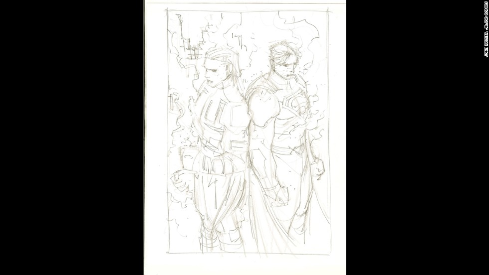 Early artwork of Ulysses and Superman.