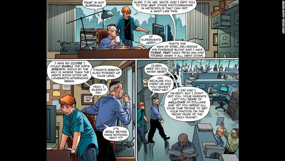 Jimmy Olsen consults with Perry White on page 9.