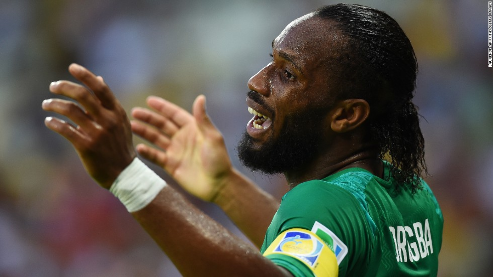 Didier Drogba of the Ivory Coast reacts during the game.