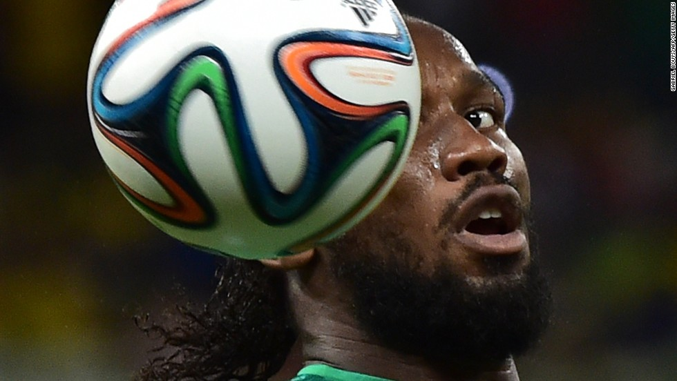 Ivory Coast's Didier Drogba heads the ball.