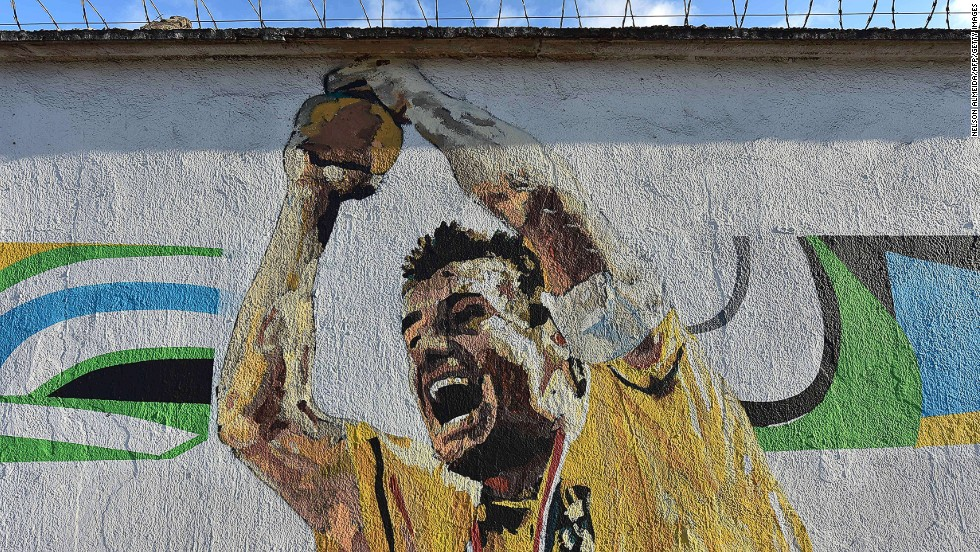 This image immortalizes the generation of USA '94, depicting Brazil football legend and former captain, Dunga lifting the FIFA World Cup trophy in the Pasadena Rose Bowl.