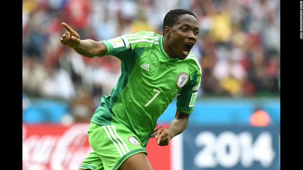 Nigeria's forward Ahmed Musa celebrates scoring his second goal.