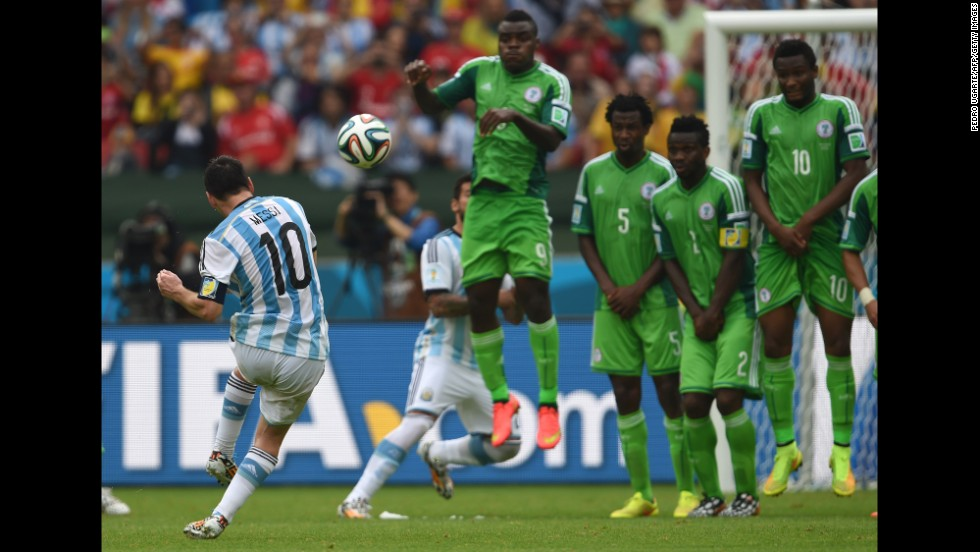 Argentina's forward Lionel Messi shoots to score his second goal.