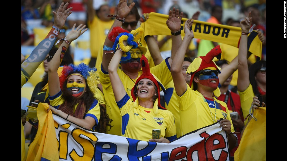 Ecuador's fans cheer before the match against France.