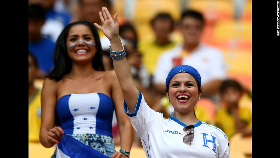 Honduras fans enjoy themselves before the match against Switzerland.