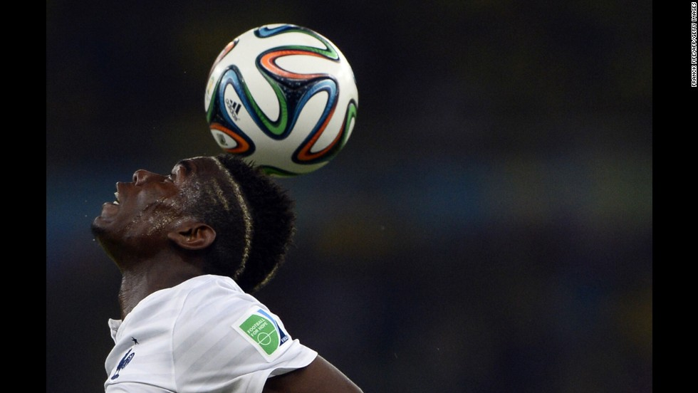 France's Paul Pogba controls the ball during the game.