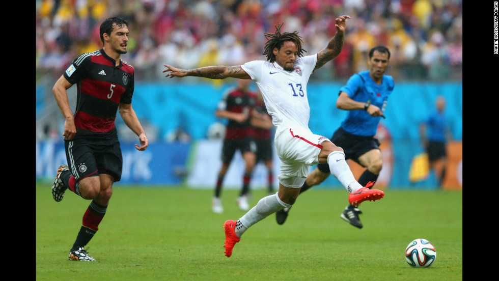 Jermaine Jones of the United States controls the ball against Mats Hummels of Germany.