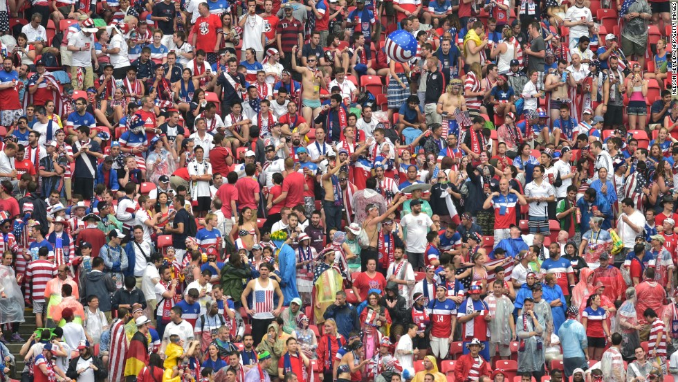 U.S. fans are seen at Pernambuco Arena in Recife.
