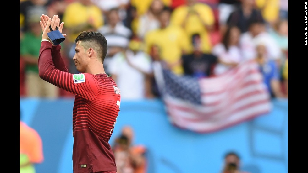 Portugal forward and captain Cristiano Ronaldo reacts after the match between Portugal and Ghana in Brasilia on June 26. Portugal won 2-1.