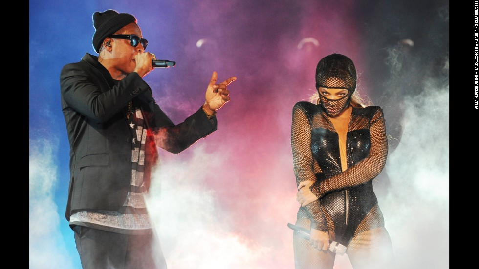 "Jay Z and Beyonce perform in Miami on Wednesday, June 25, the opening night of their highly anticipated joint ""On the Run"" tour."