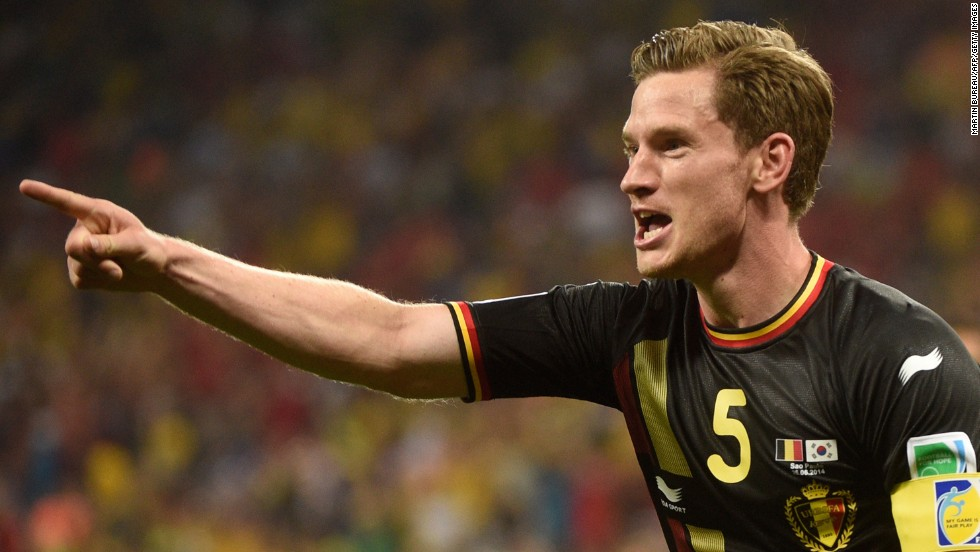 Belgium defender and captain Jan Vertonghen celebrates after scoring.