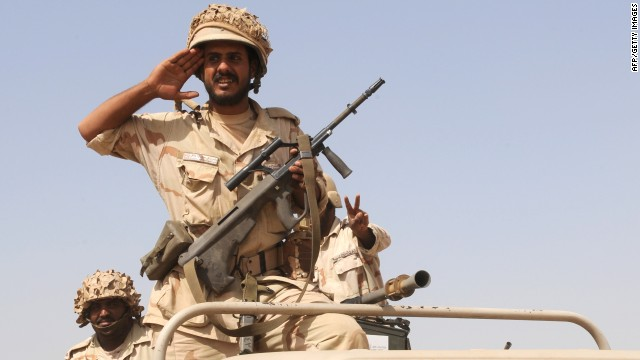 "Fle photo: Saudi troops are pictured near the country's border with Yemen in 2009. King Abdullah has ordered that ""all necessary measures"" be taken to protect Saudi Arabia against terror threats, the state-run SPA news agency reported Thursday."