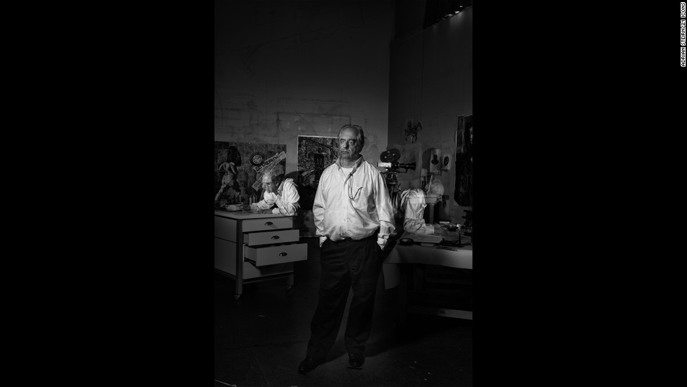 "<strong>William Kentridge</strong><br /><br />""This was technically one of the most difficult portraits in the collection. It's one exposure and we flashed him moving about the room to get that exposure absolutely correct. But even though it was technically difficult, Kentridge himself was so enthused with the whole thing,"" the project's principal photographer says.<br /><br />Steirn reveals that during the photo shoot, Kentridge -- <a href=""http://edition.cnn.com/2010/WORLD/africa/07/27/william.kentridge/"" target=""_blank"">one of South Africa's best-known artists</a> -- completely fell in love with the technical process of constructing the shoot. <br /><br />""The narrative behind the portrait was his multimedia and him being so much a part of his work. It took 15 to 20 minutes to get right. We had producers counting him around the room, getting the times right,"" expounds Steirn."