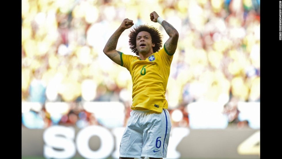 Marcelo of Brazil celebrates after scoring during the penalty shootout.