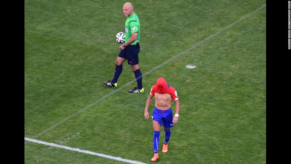 Chile's Alexis Sanchez reacts after failing to score during the penalty shootout.