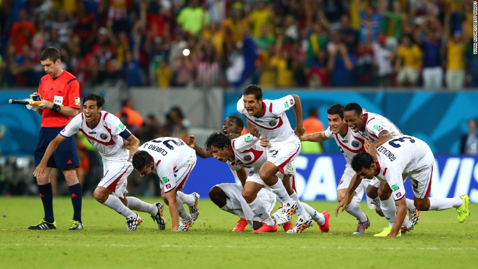 The Costa Rican national team celebrates after defeating Greece in a penalty shootout during a World Cup game in Recife, Brazil, on Sunday, June 29. This elimination round game ended with a final score of 1-1. Costa Rica pulled out a win in a penalty kick shootout with a score of 5-3.