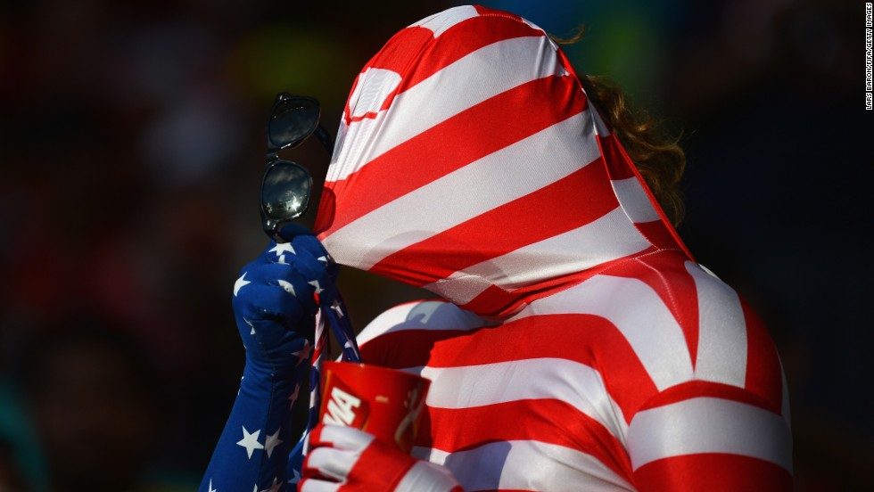 A U.S. fan soaks up the atmosphere in Salvador, Brazil, prior to the Belgium match.