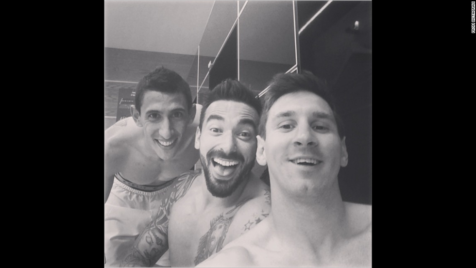 "Argentina soccer star Lionel Messi, right, posted this locker-room selfie on Tuesday, July 1, after he and his teammates defeated Switzerland to advance to the quarterfinals of the World Cup. ""Nobody said it was an easy game,"" Messi said <a href=""http://instagram.com/p/p63jrOPMzQ/"" target=""_blank"">on his Instagram account</a>. ""Another big step."" Next to Messi in this selfie are Ezequiel Lavezzi, center, and Angel Di Maria, who scored the game's only goal."