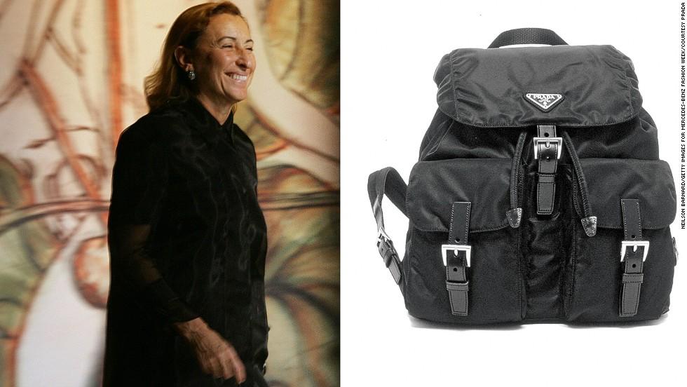 "<em>Miuccia Prada, nylon bag</em><br /><br />When Miuccia Prada joined her family's leather manufacturing business in 1978, she transformed the small, traditional company into a global fashion empire with her nylon bag. Her idea to design a luxury bag out of humble nylon was an unlikely choice for a high-end brand like Prada.<br /><br />""The nylon bag was how the Prada name was made,"" says Oriole Cullen, a fashion curator at the Victoria and Albert Museum in London. ""When she designed these very sleek, practical knapsacks out of inexpensive and durable material, it was something no one had ever done before, and the fashion world was really enamored with them."""