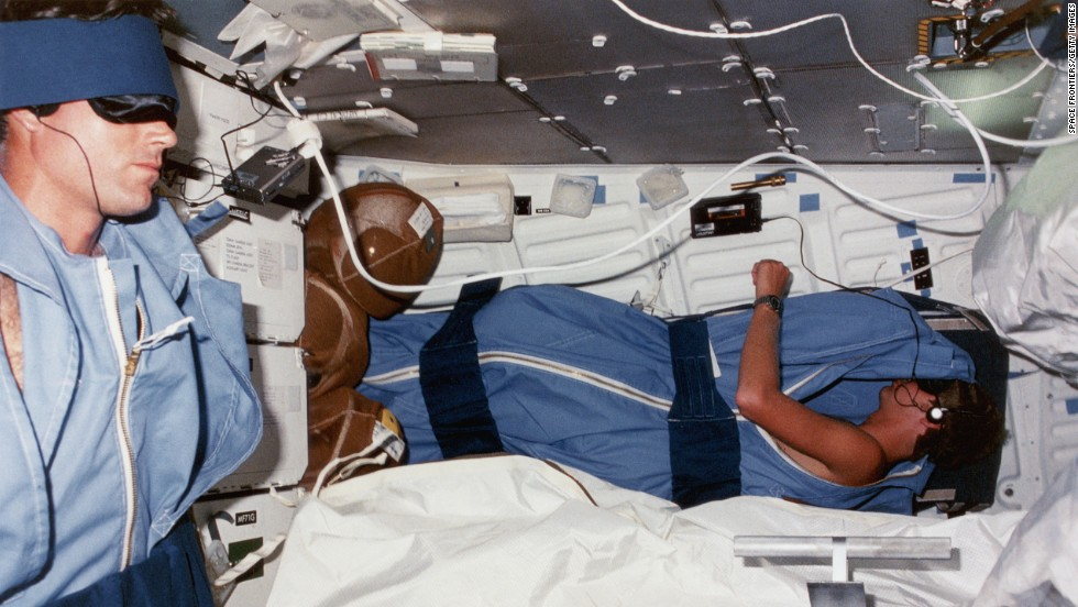 You know the Walkman was cutting-edge techology if NASA crews were using it. Here, space shuttle Discovery crew Michael L. Coats (pilot, left) and Steven A. Hawley (mission specialist, right) fall asleep listening to music on the lower deck of the shuttle in 1984.